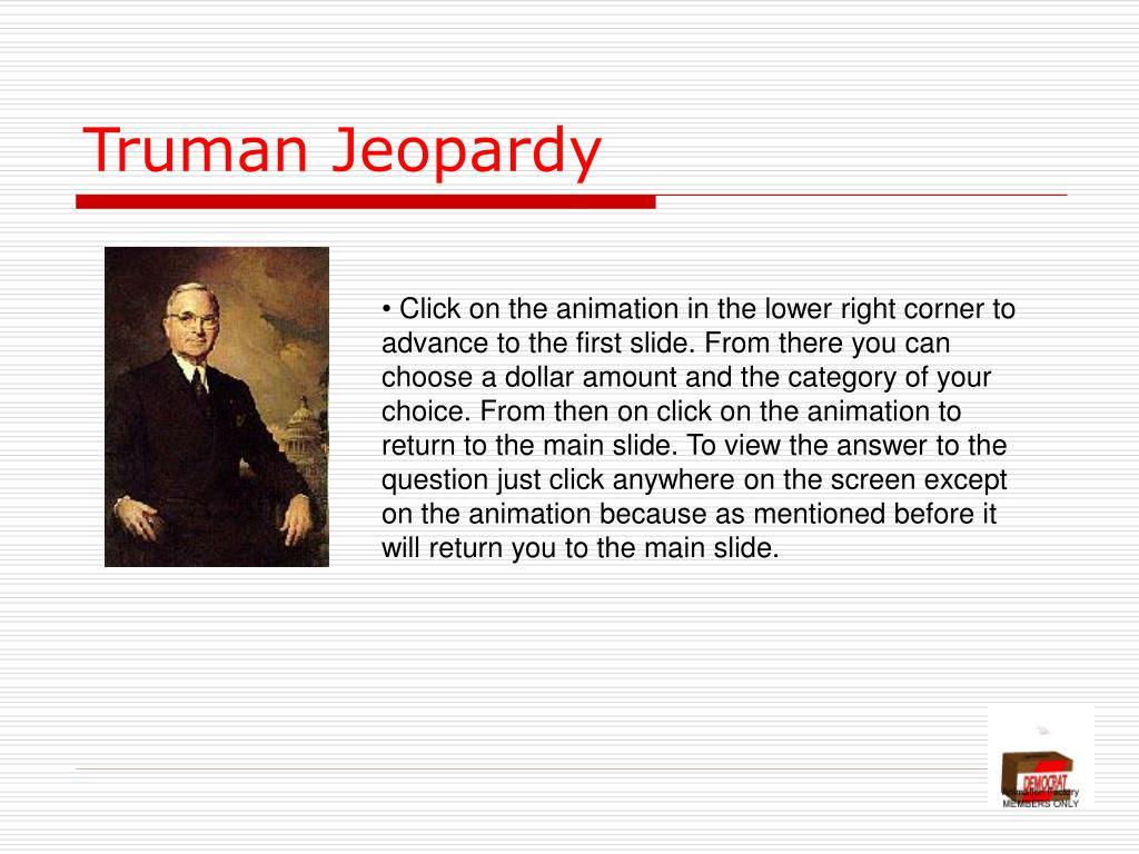 Truman Jeopardy