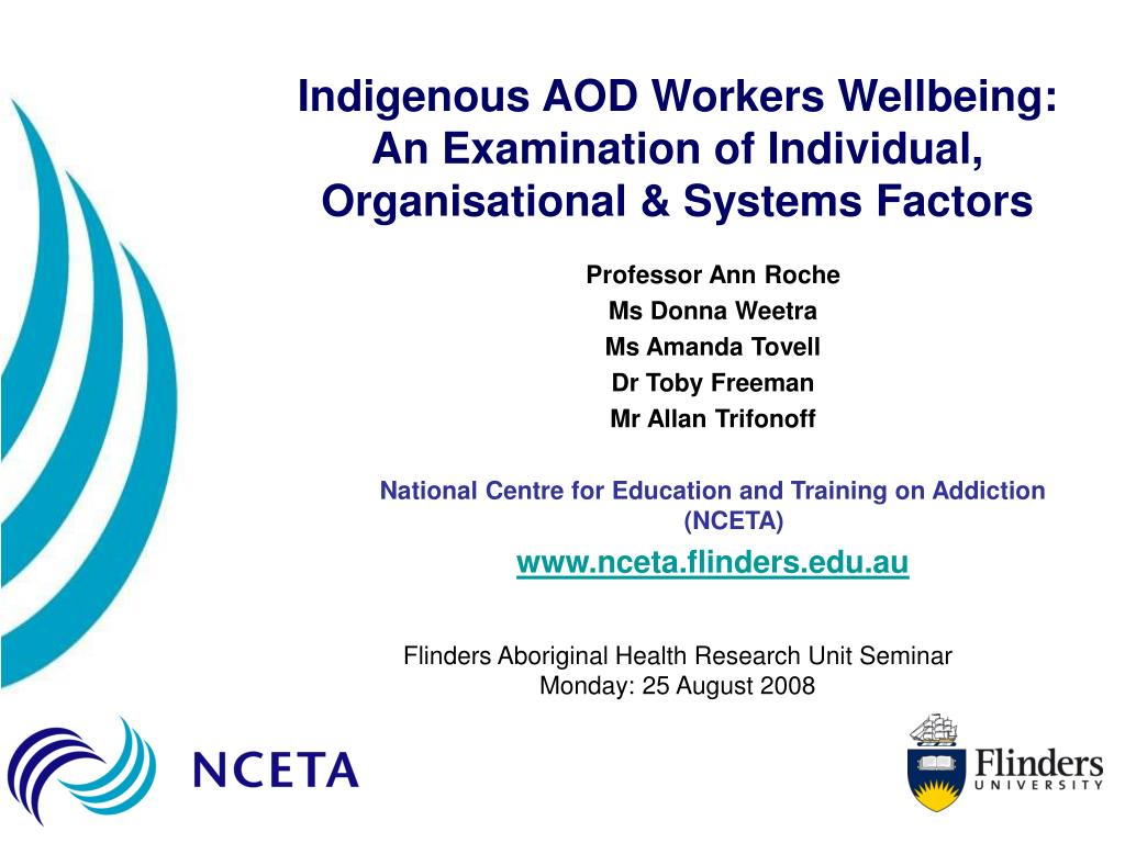 Indigenous AOD Workers Wellbeing: An Examination of Individual, Organisational & Systems Factors