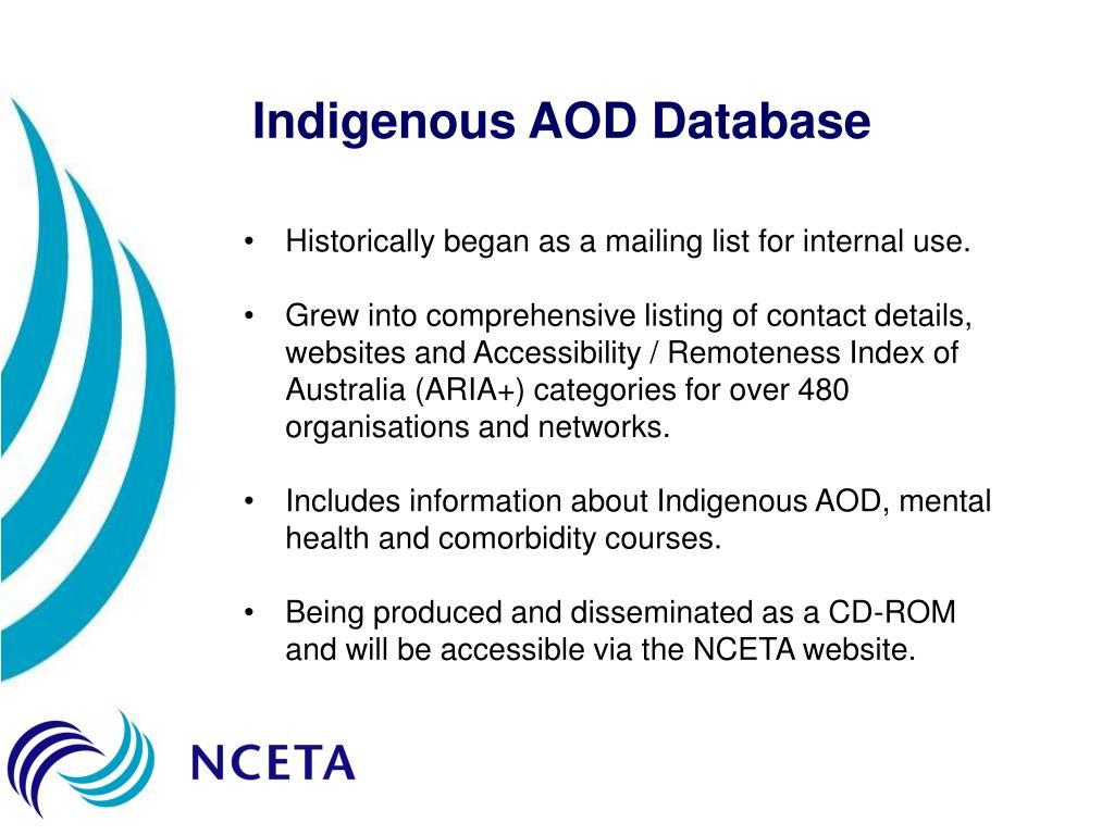 Indigenous AOD Database