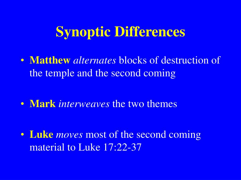 Synoptic Differences