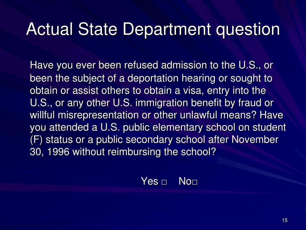 Actual State Department question