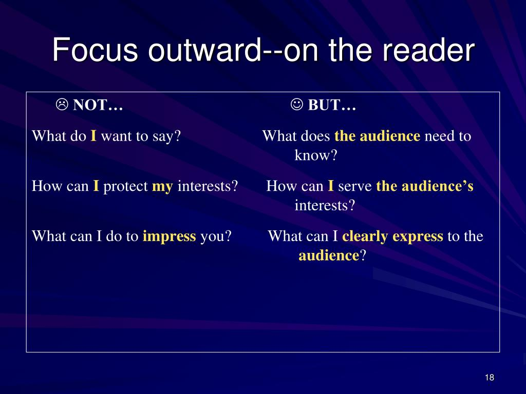 Focus outward--on the reader