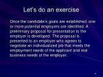 let s do an exercise