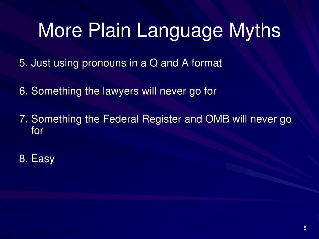 More Plain Language Myths
