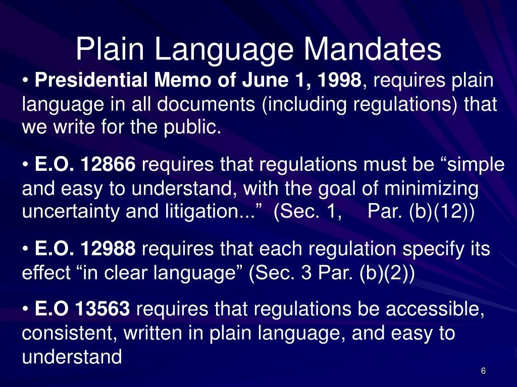 Plain Language Mandates