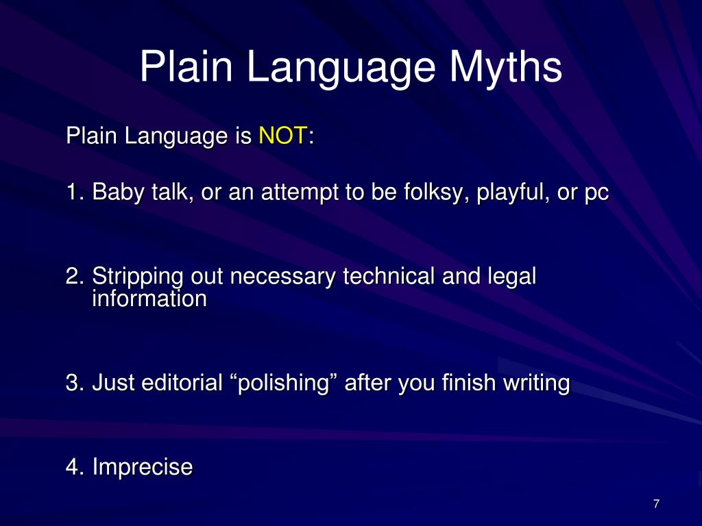 Plain Language Myths
