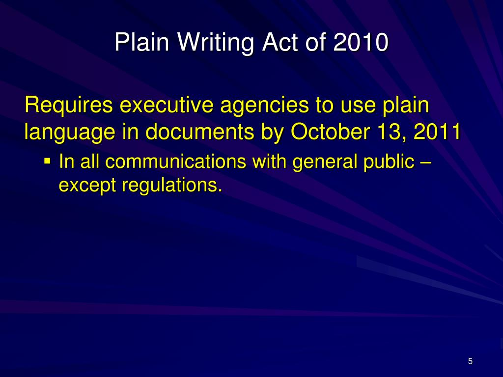 Plain Writing Act of 2010