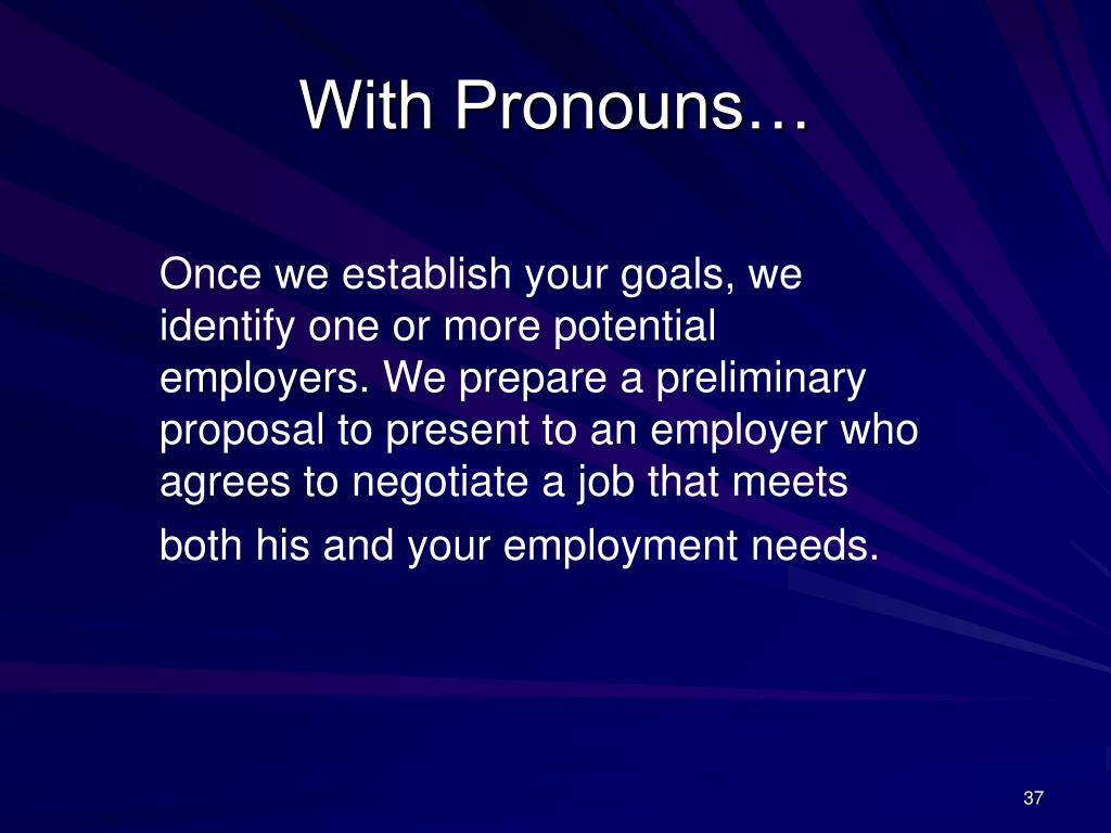 With Pronouns…