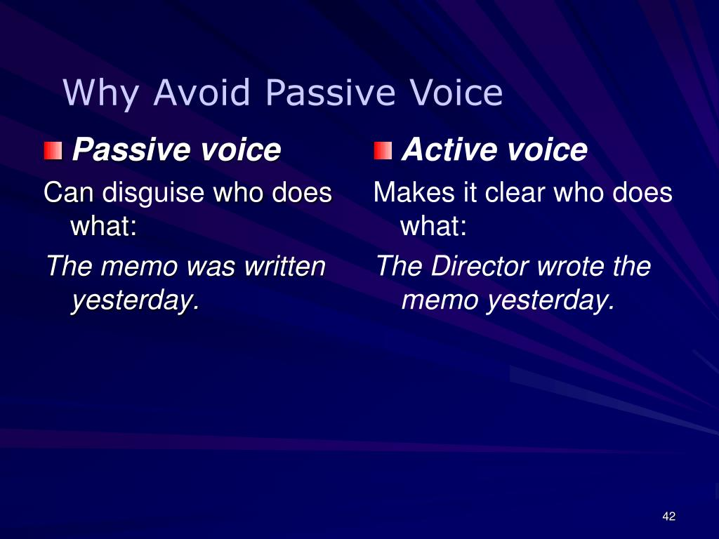 Why Avoid Passive Voice