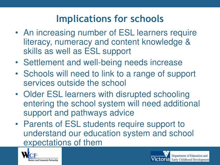 Implications for schools