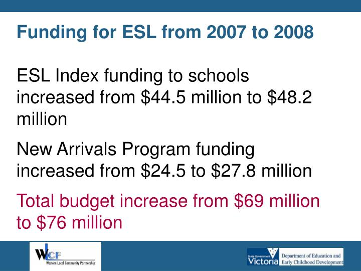 Funding for ESL from 2007 to 2008
