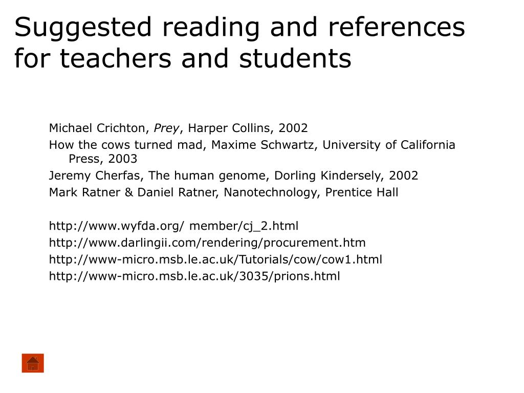 Suggested reading and references for teachers and students