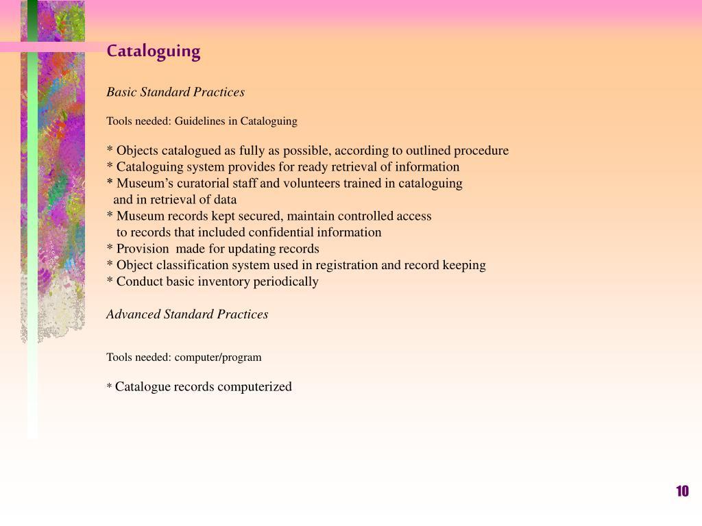 Cataloguing