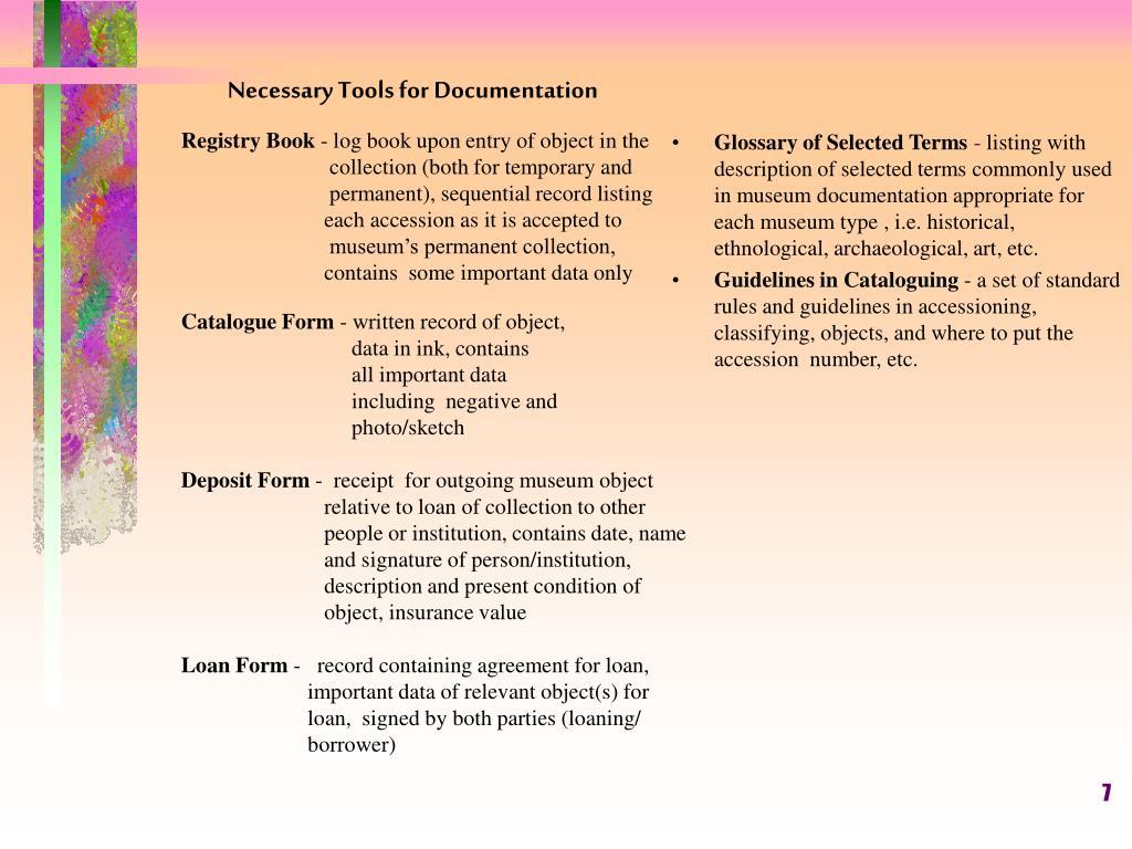 Necessary Tools for Documentation