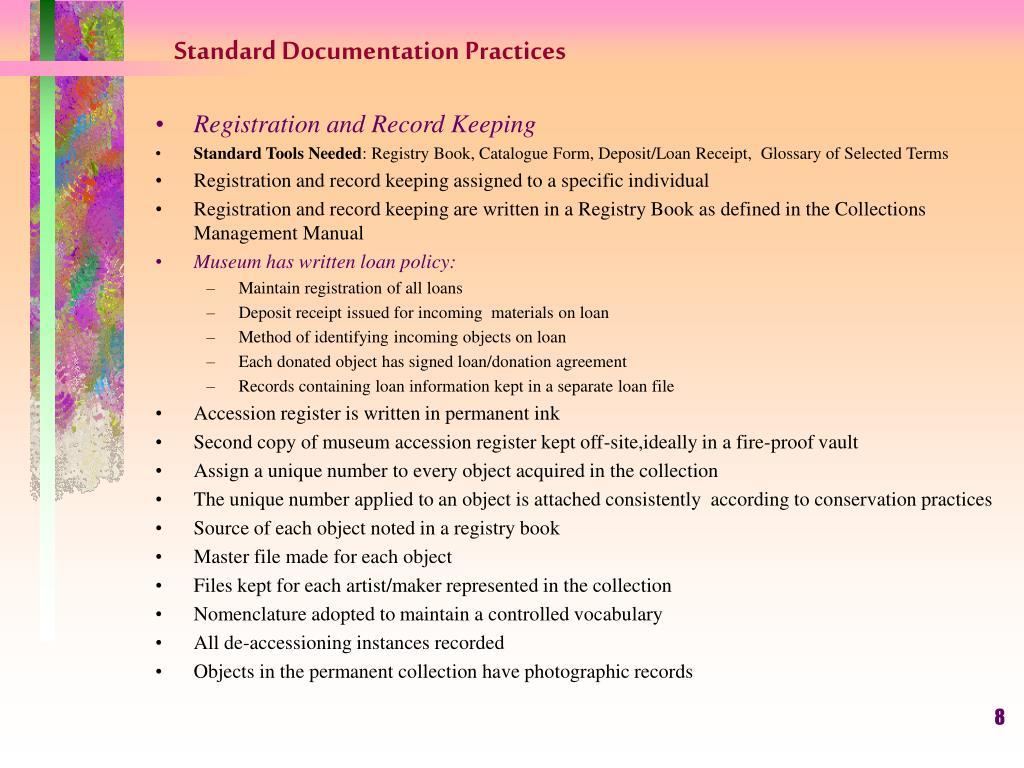 Standard Documentation Practices