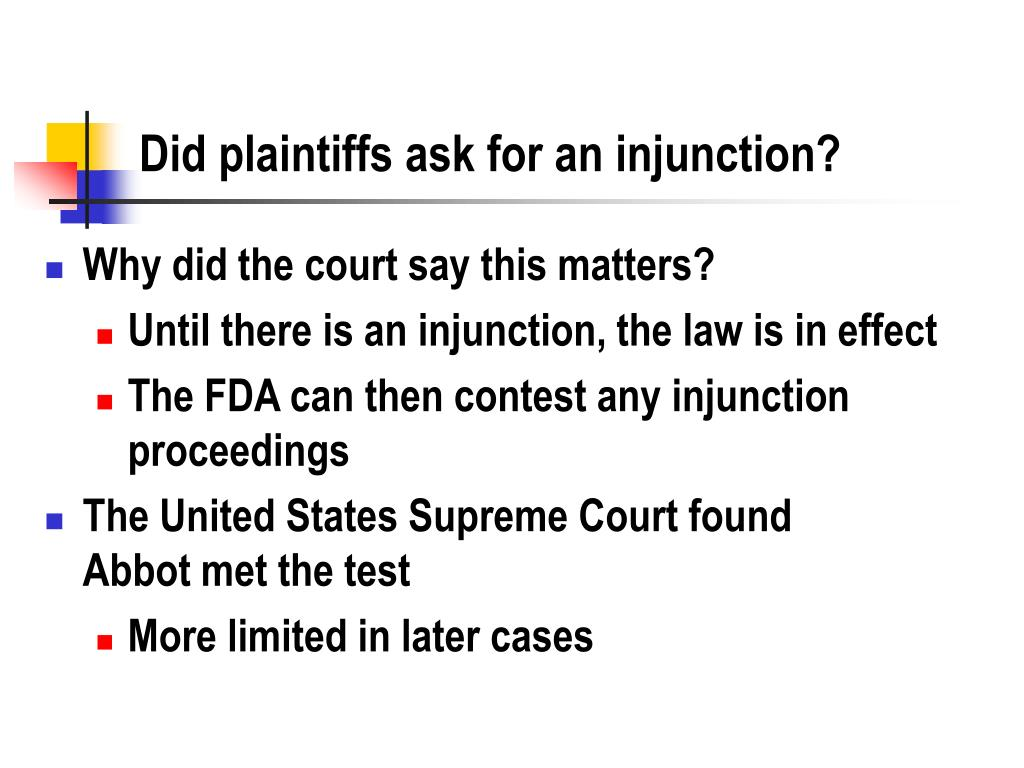 Did plaintiffs ask for an injunction?