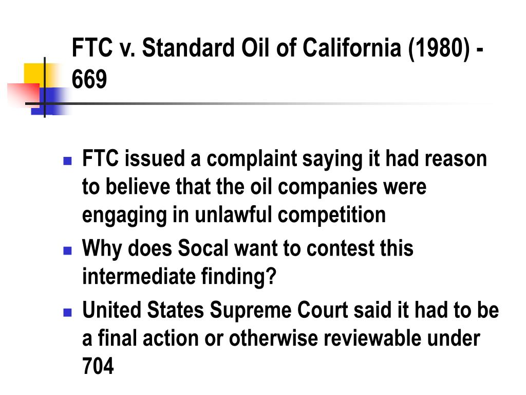 FTC v. Standard Oil of California (1980) - 669