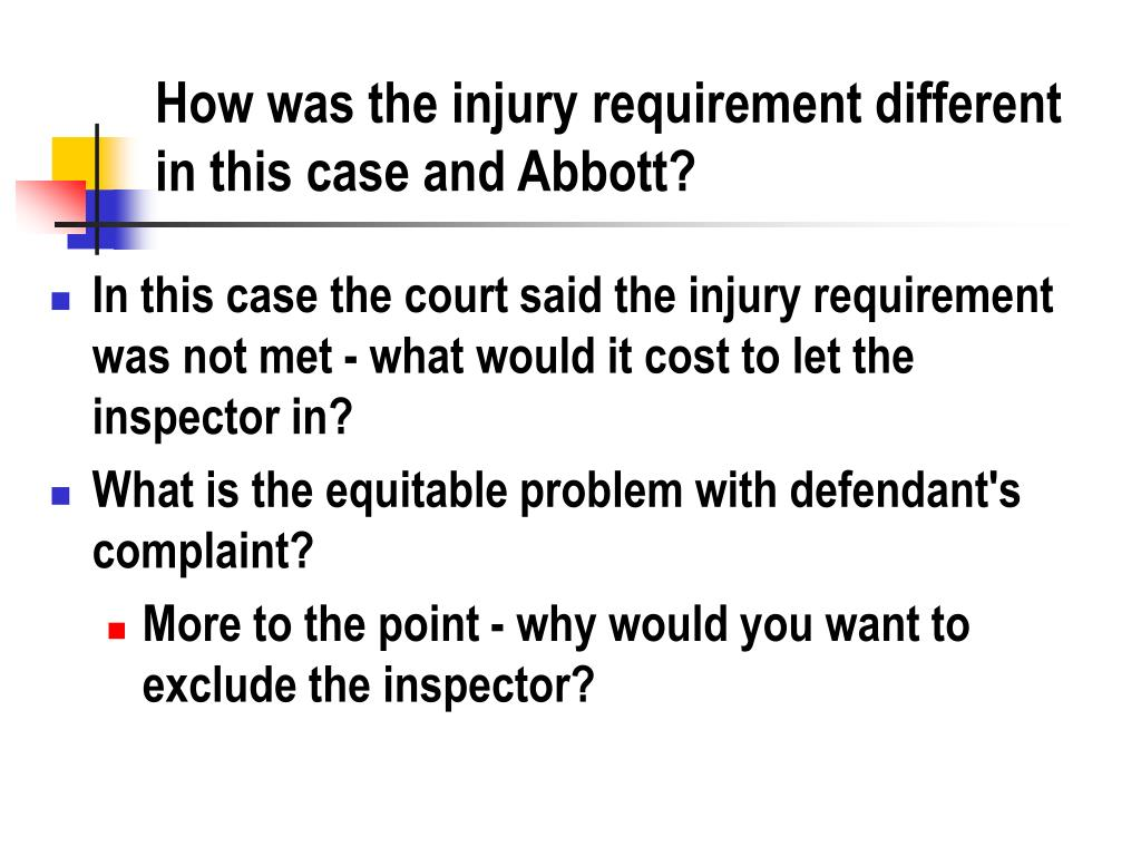 How was the injury requirement different in this case and Abbott?