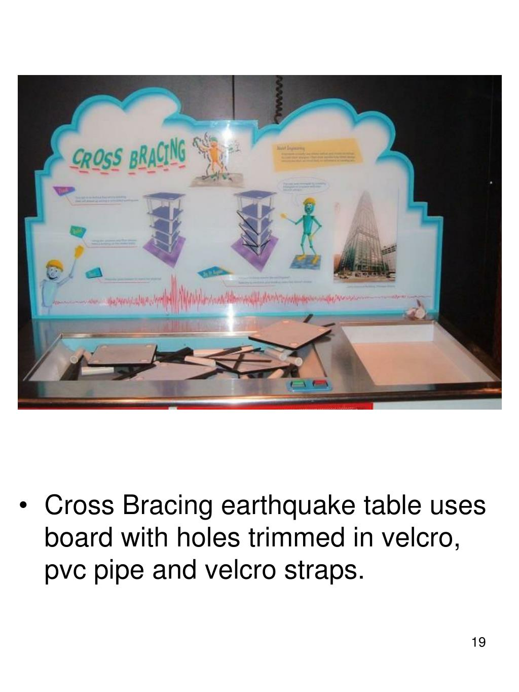 Cross Bracing earthquake table uses board with holes trimmed in velcro, pvc pipe and velcro straps.