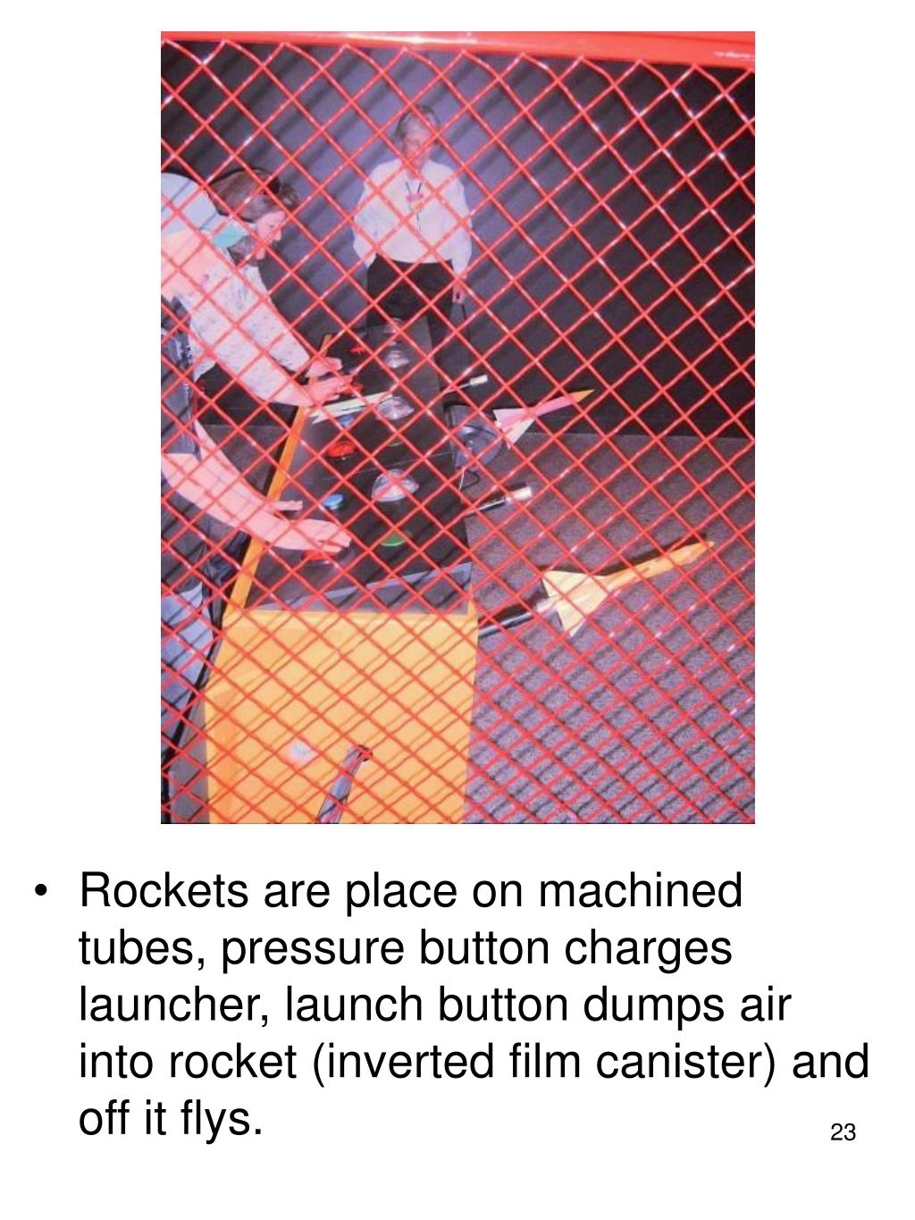 Rockets are place on machined tubes, pressure button charges launcher, launch button dumps air into rocket (inverted film canister) and off it flys.
