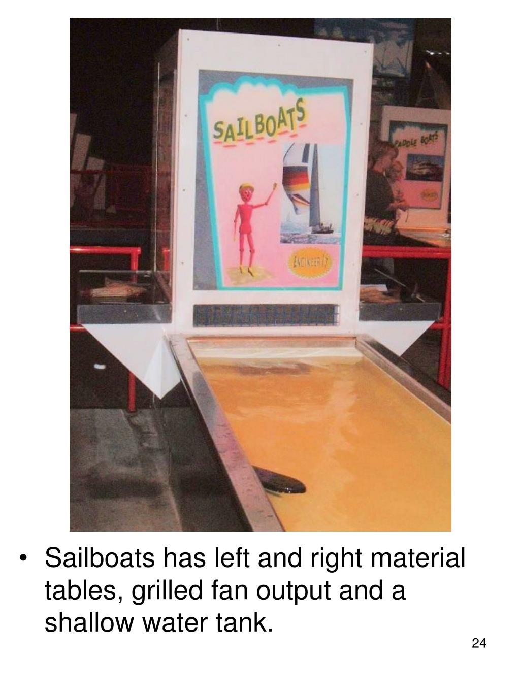 Sailboats has left and right material tables, grilled fan output and a shallow water tank.