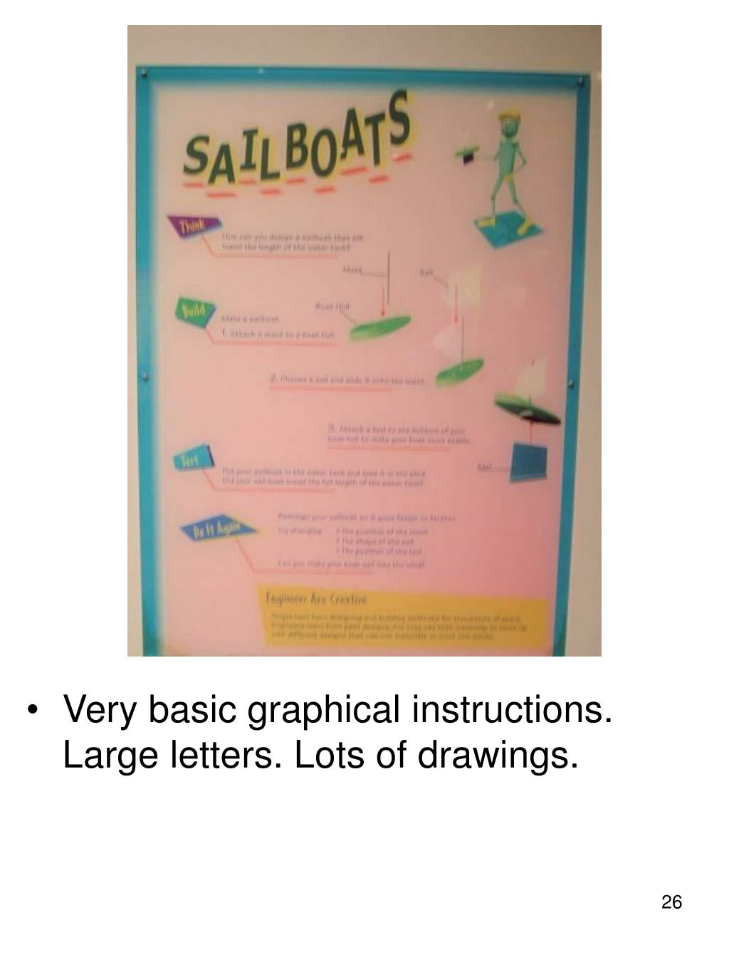 Very basic graphical instructions. Large letters. Lots of drawings.