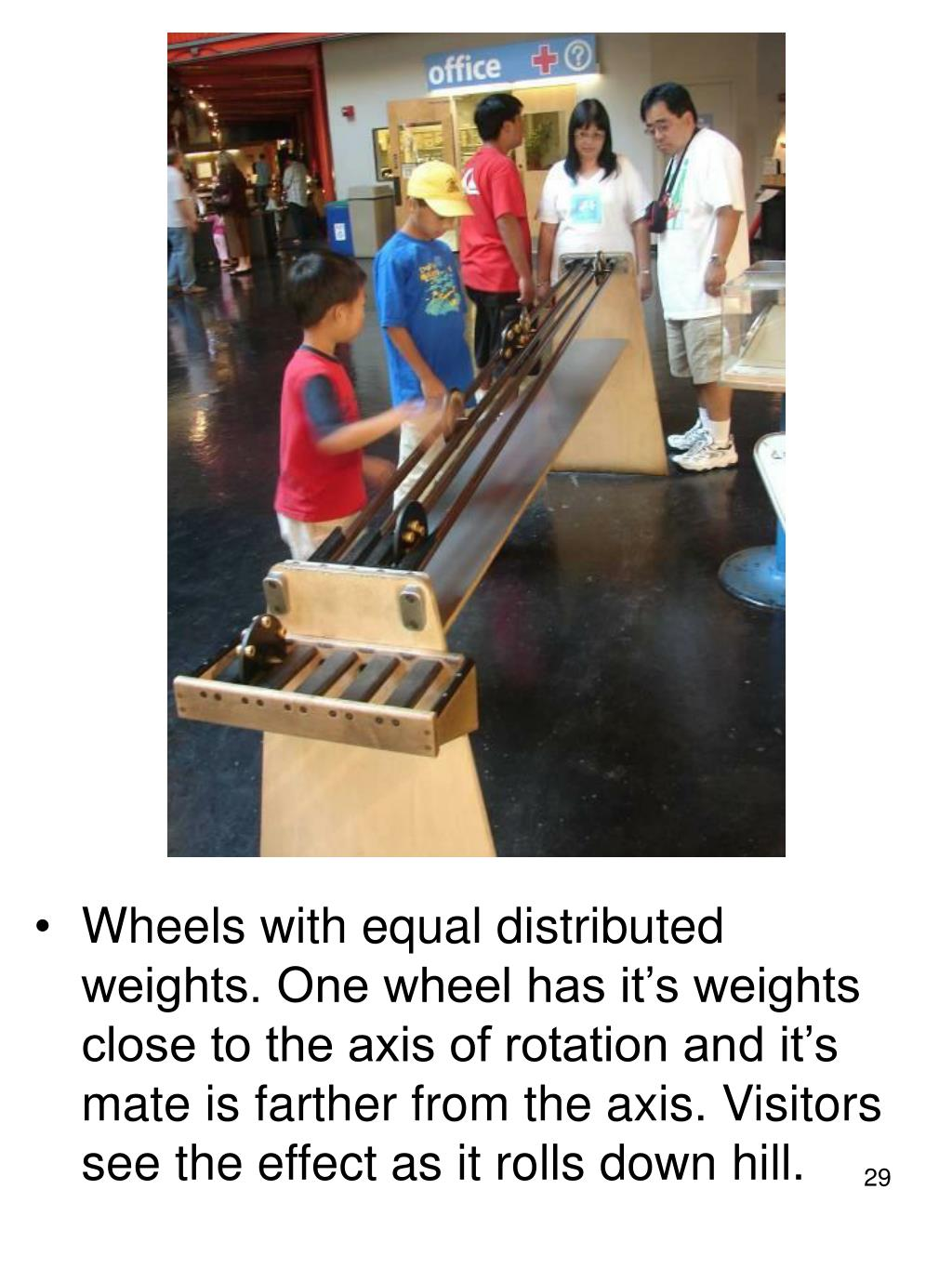 Wheels with equal distributed weights. One wheel has it's weights close to the axis of rotation and it's mate is farther from the axis. Visitors see the effect as it rolls down hill.