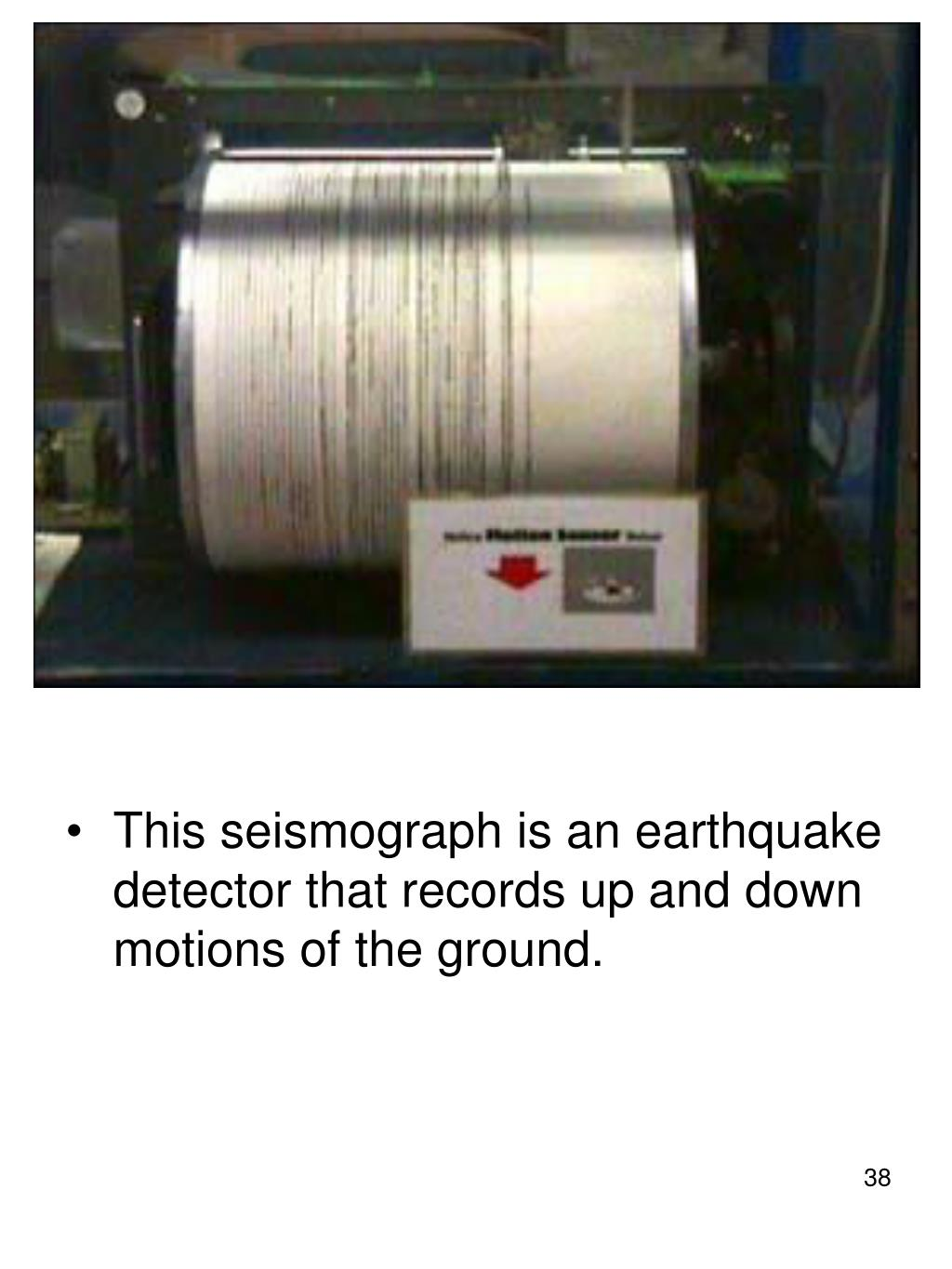 This seismograph is an earthquake detector that records up and down motions of the ground.