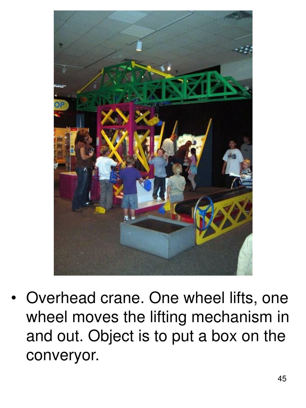 Overhead crane. One wheel lifts, one wheel moves the lifting mechanism in and out. Object is to put a box on the converyor.