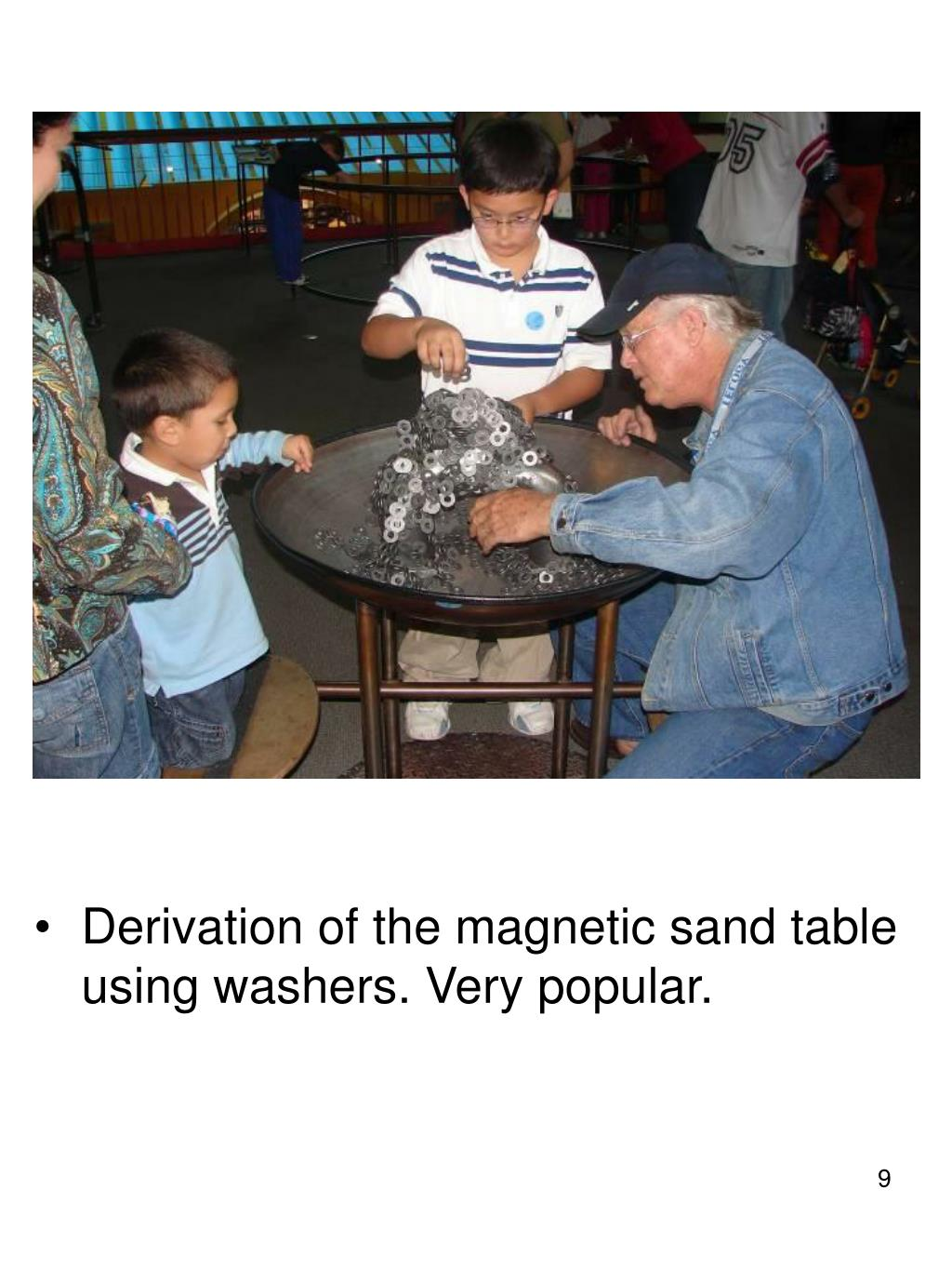 Derivation of the magnetic sand table using washers. Very popular.