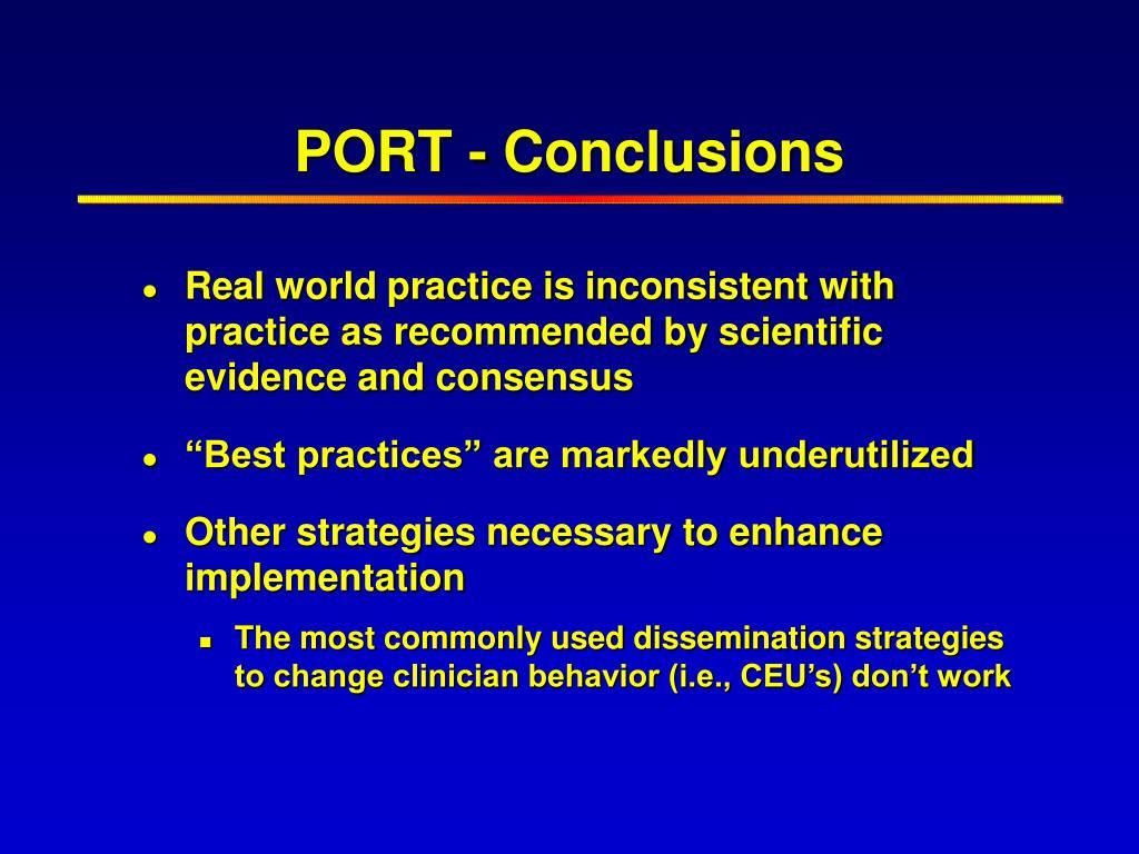 PORT - Conclusions