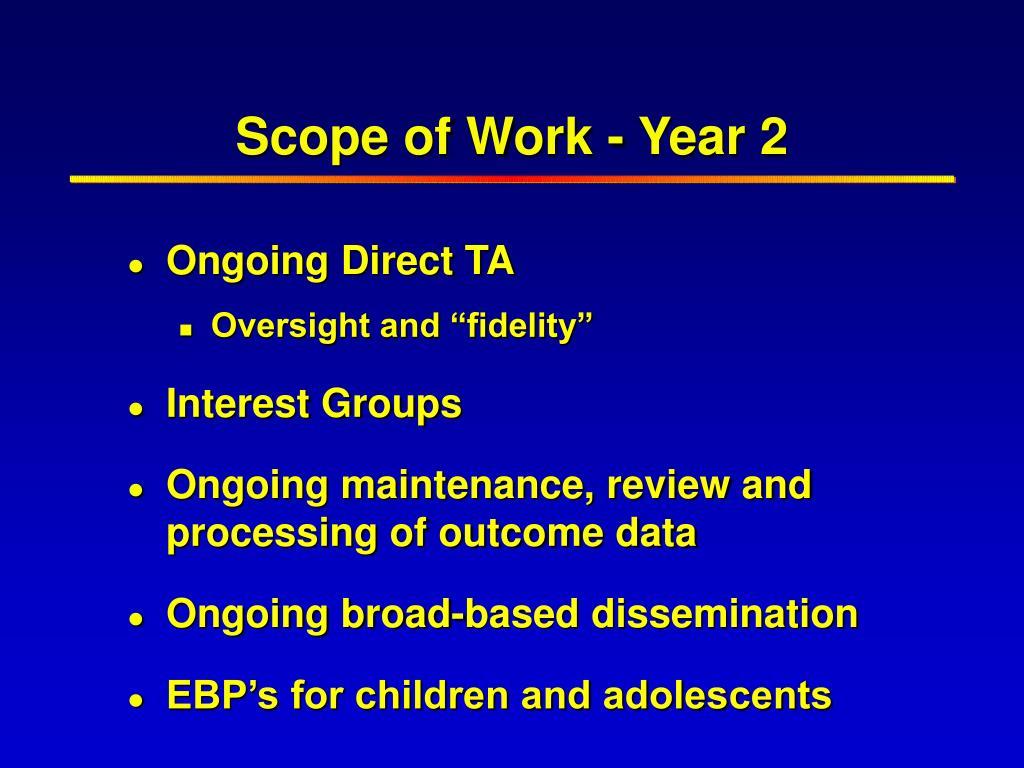 Scope of Work - Year 2