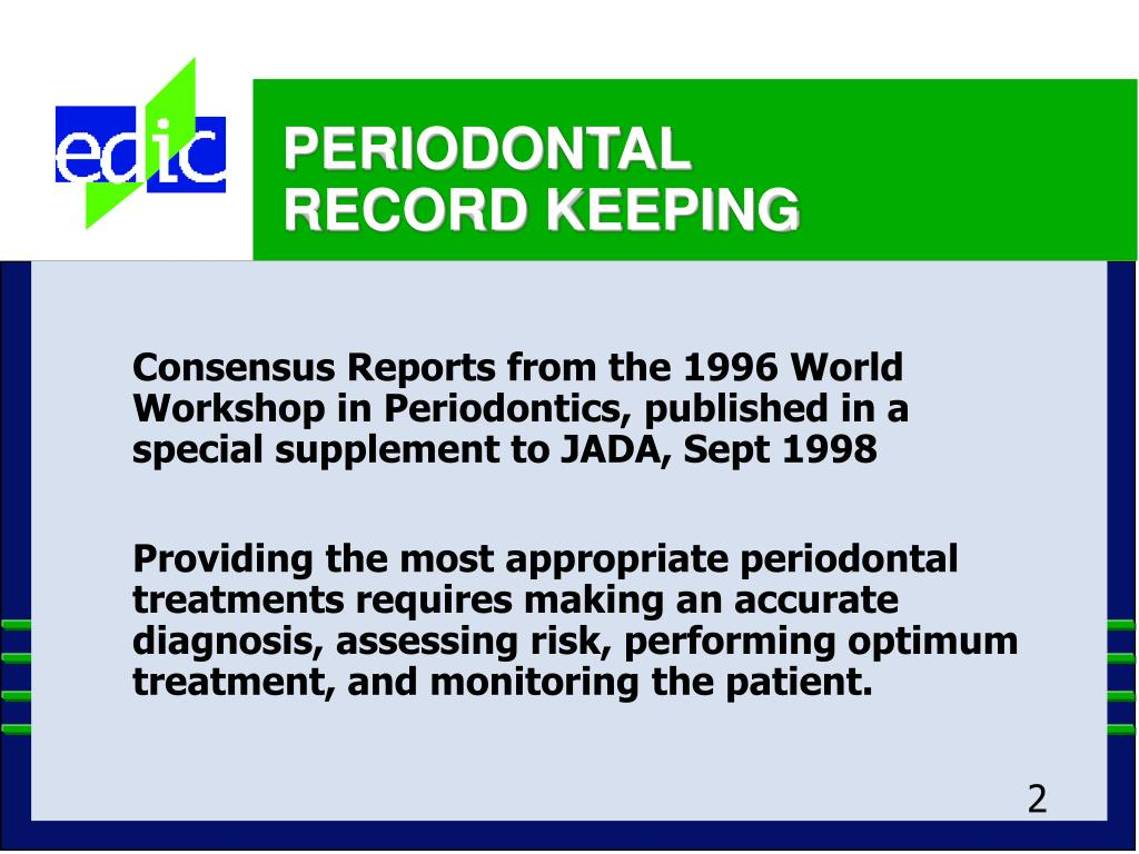 Consensus Reports from the 1996 World Workshop in Periodontics, published in a special supplement to JADA, Sept 1998