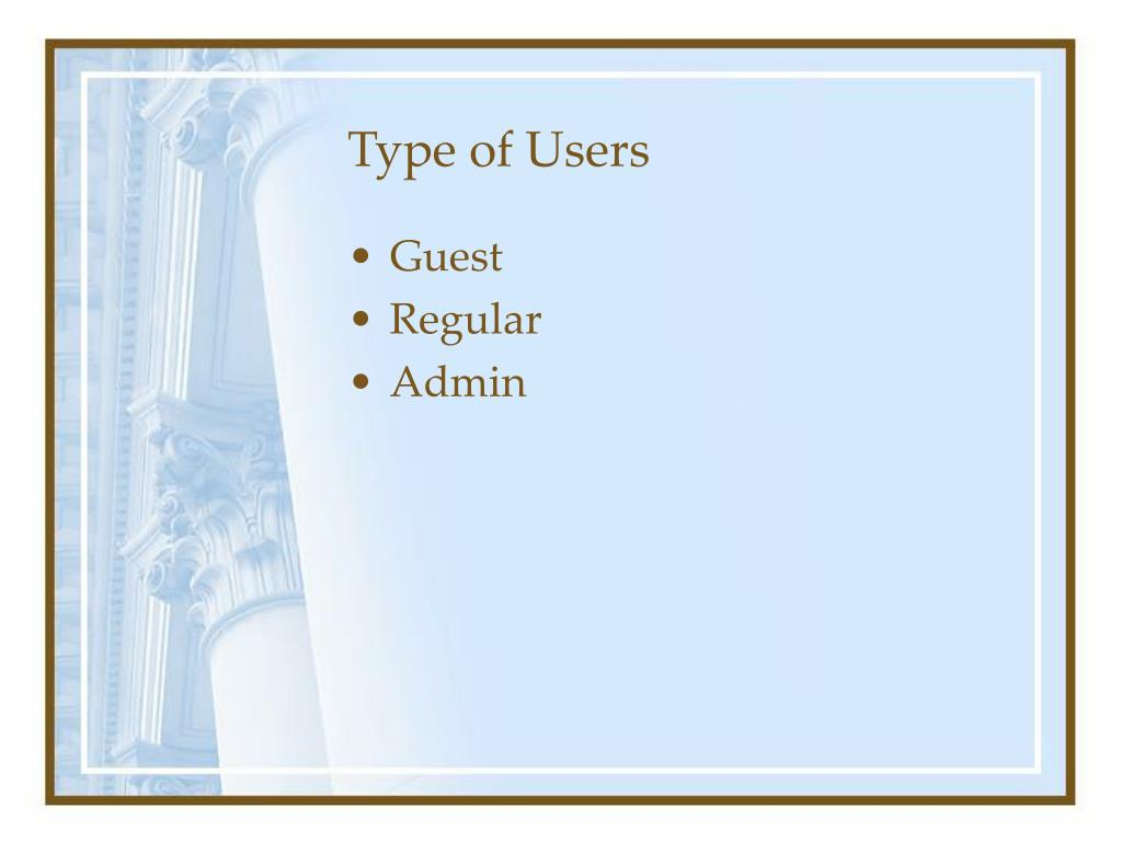 Type of Users