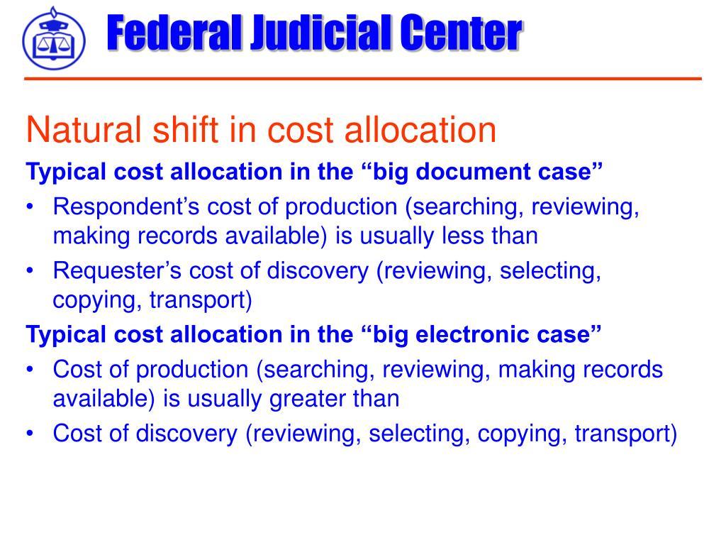 Natural shift in cost allocation
