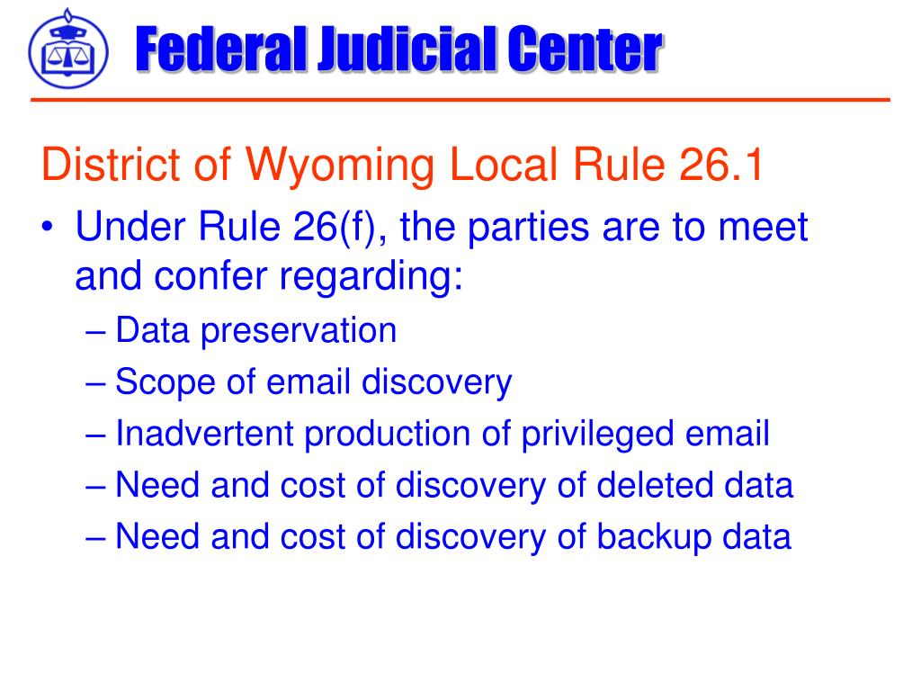 District of Wyoming Local Rule 26.1