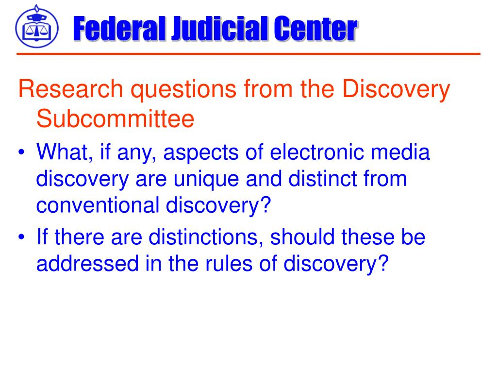 Research questions from the Discovery Subcommittee