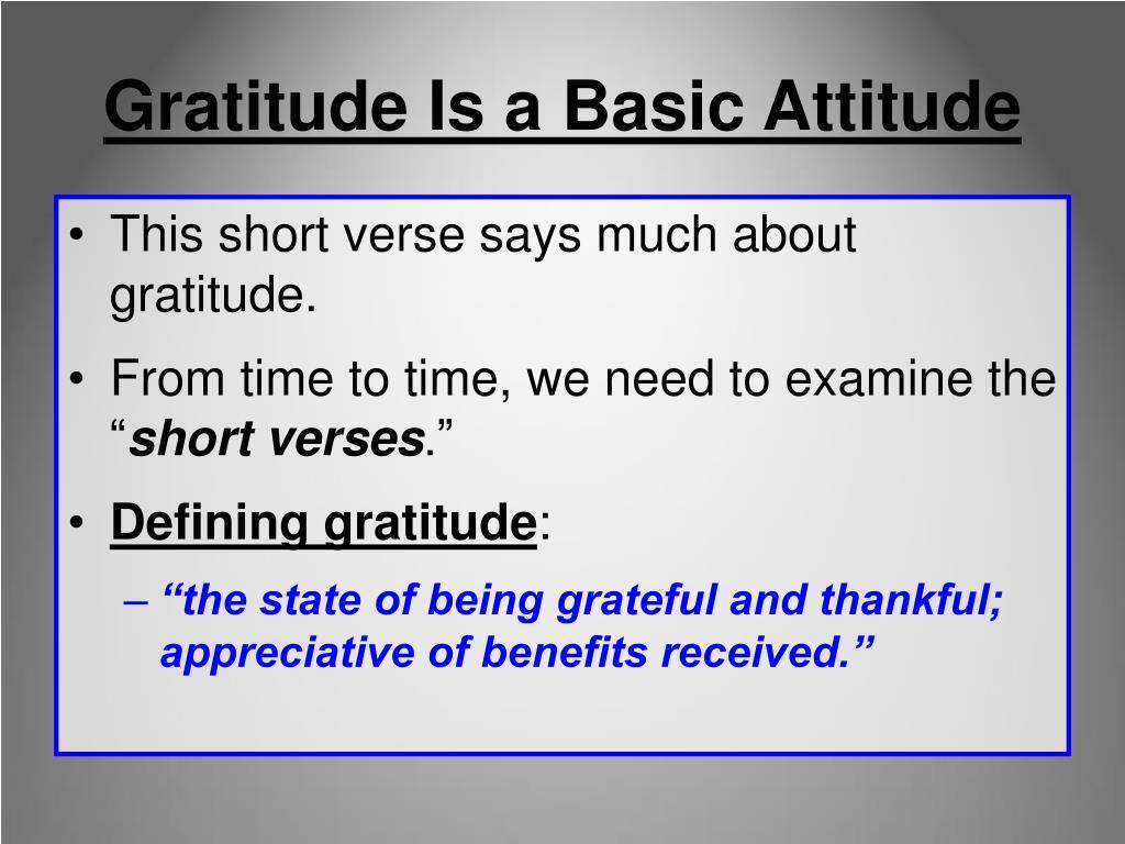 Gratitude Is a Basic Attitude