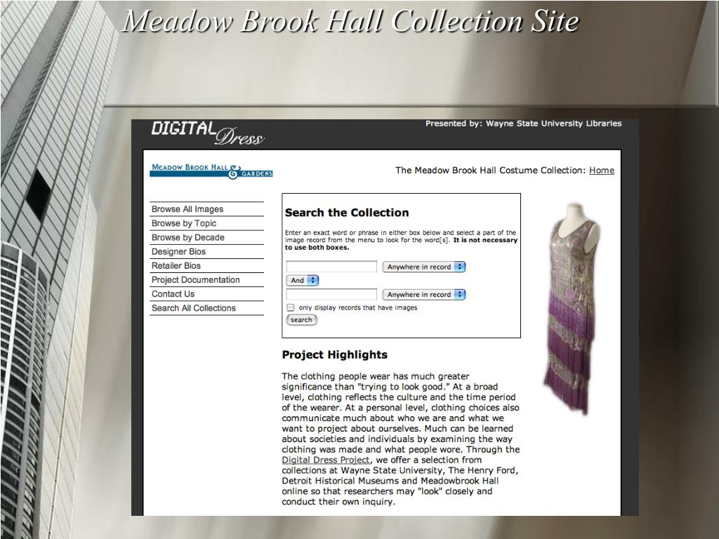 Meadow Brook Hall Collection Site