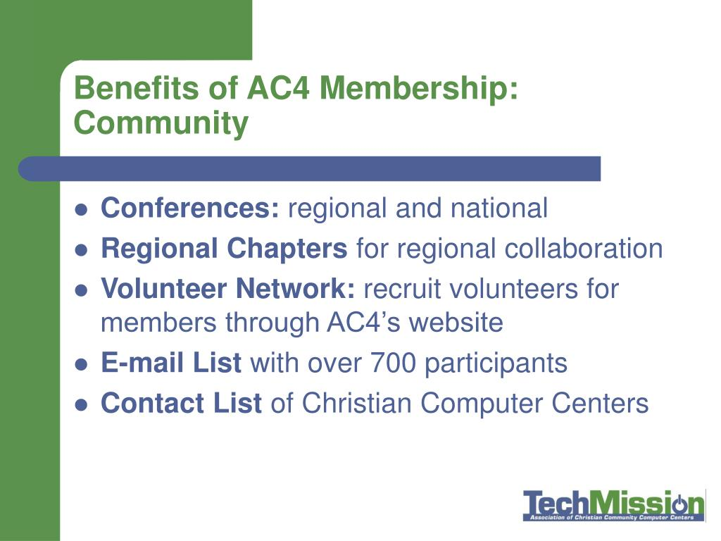 Benefits of AC4 Membership: Community