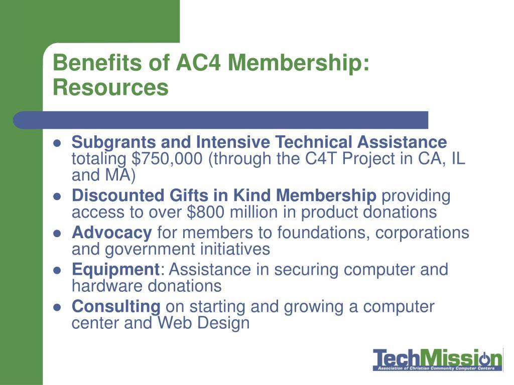 Benefits of AC4 Membership: Resources