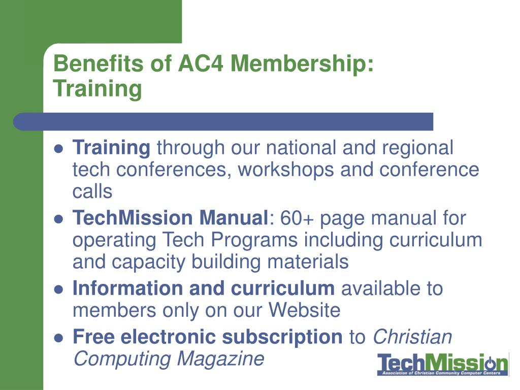Benefits of AC4 Membership: