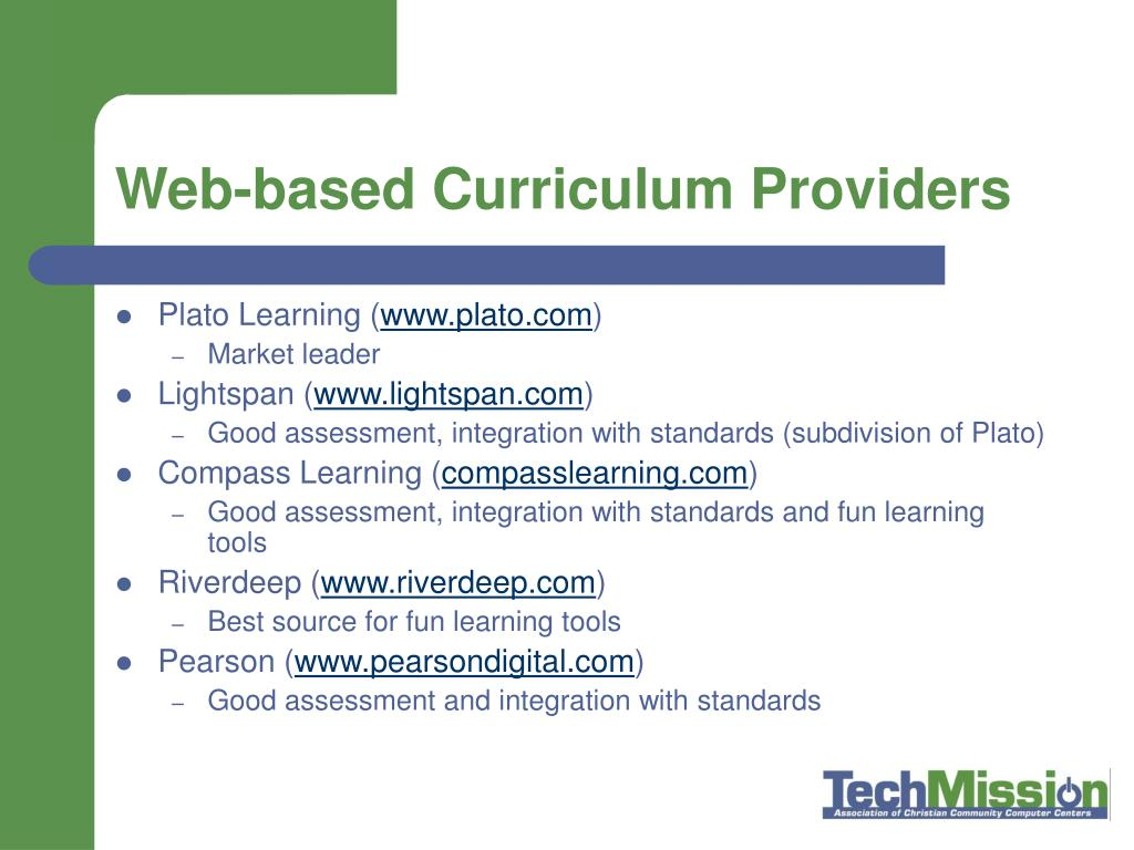 Web-based Curriculum Providers