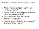 operation of the criminal justice system