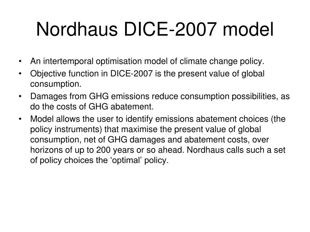 Nordhaus DICE-2007 model