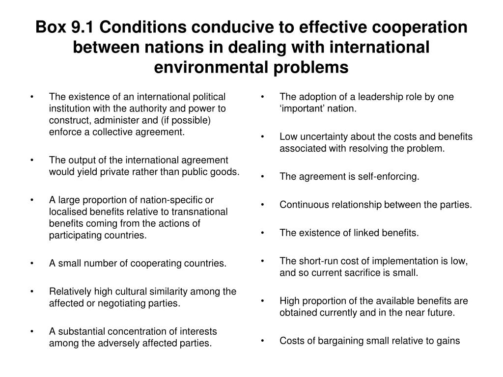 Box 9.1 Conditions conducive to effective cooperation between nations in dealing with international environmental problems