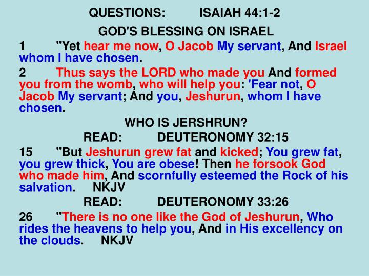 QUESTIONS:ISAIAH 44:1-2