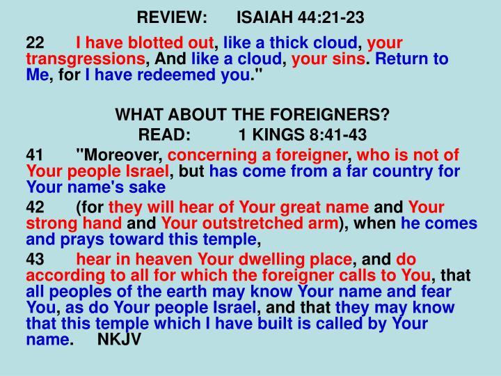 REVIEW:ISAIAH 44:21-23