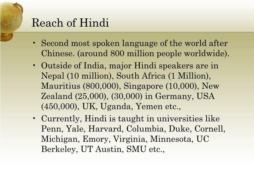 Reach of Hindi
