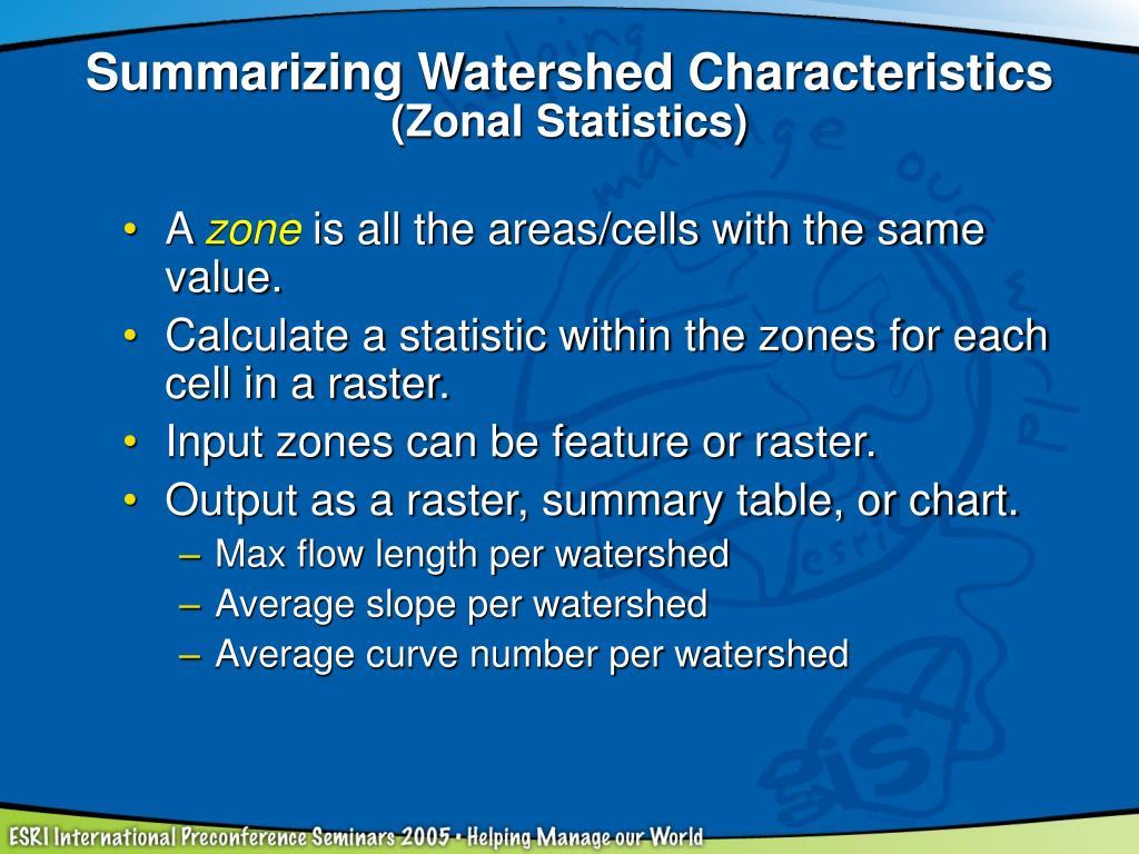 Summarizing Watershed Characteristics